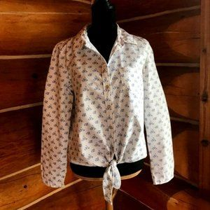 White/Blue Floral Cotton Shirt/Blouse Medium